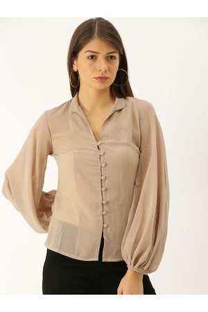 MABISH by Sonal Jain Women Taupe Solid Top