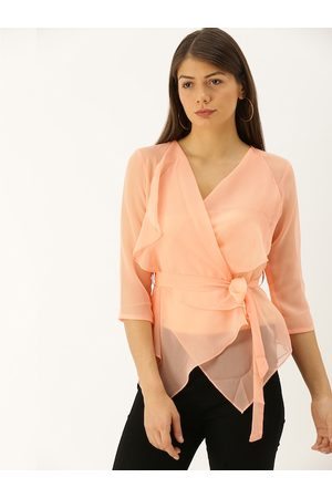 MABISH by Sonal Jain Women Peach-Coloured Solid Wrap Top