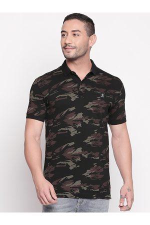 Mufti Men Black & Brown Printed Polo Collar Slim Fit T-shirt