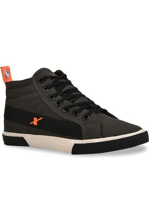 Sparx Men Olive Green Solid Canvas Mid-Top Sneakers