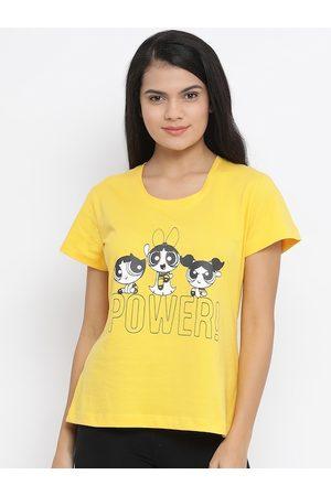 Clovia Women Yellow Printed Lounge T-Shirt
