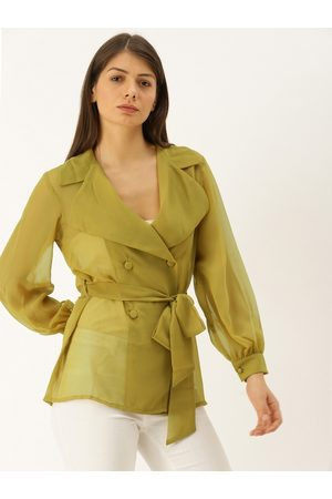 MABISH by Sonal Jain Women Olive Green Solid Sheer Wrap Top