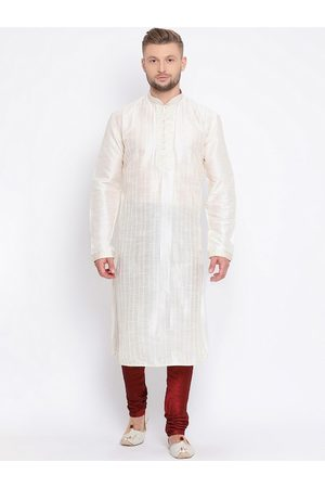 Sanwara Men Cream-Coloured & Maroon Solid Kurta with Churidar