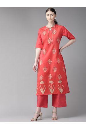 Bhama Couture Women Pink & Golden Block Printed Kurta with Palazzos