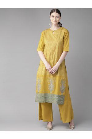 Bhama Couture Women Mustard Yellow & Off-White Block Printed Kurta with Palazzos