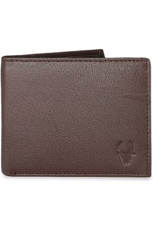 WildHorn Men Brown RFID Protected Genuine Leather Hand-Stitched Solid Two Fold Wallet