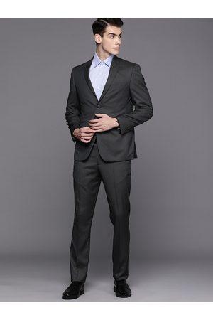 Louis Philippe Men Charcoal Grey Self Design Slim Fit Formal Suit
