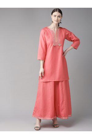 Bhama Couture Women Palazzos - Women Pink Gotta Patti Yoke Design Kurta with Palazzos