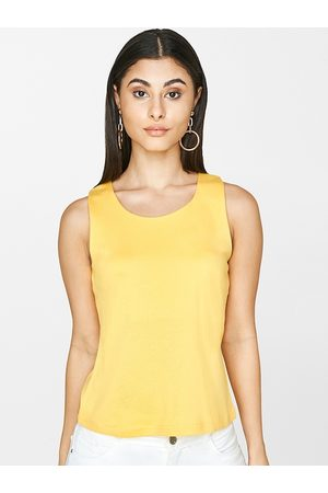 AND Women Yellow Solid Tank Top