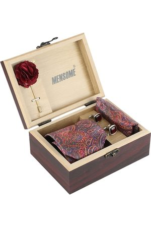 MENSOME Men Handkerchiefs - Men Maroon Accessory Gift Set