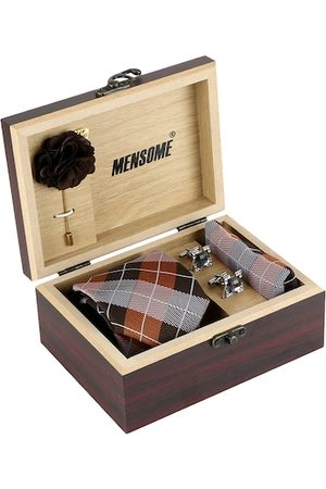 MENSOME Men Brown & White Checked Accessory Gift Set