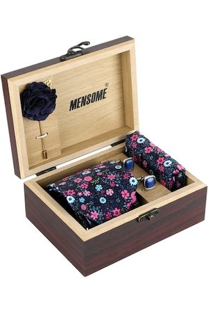MENSOME Men Blue & Pink Floral Accessory Gift Set