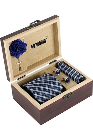 MENSOME Men Blue Checked Accessory Gift Set