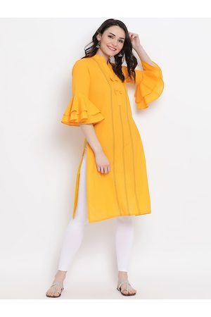 FABNEST Women Yellow & Black Solid Straight Kurta
