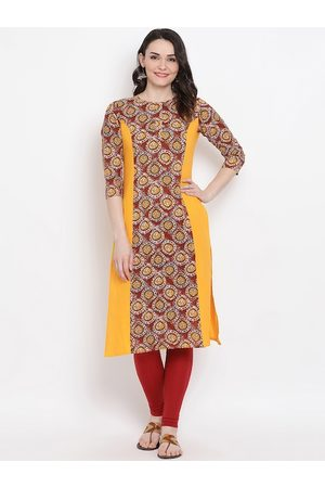 FABNEST Women Yellow & Maroon Printed Straight Kurta
