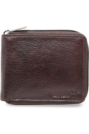 Teakwood Leathers Men Brown Solid Leather Zip Around Wallet