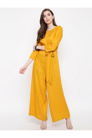 FABNEST Women Yellow Solid Basic Jumpsuit