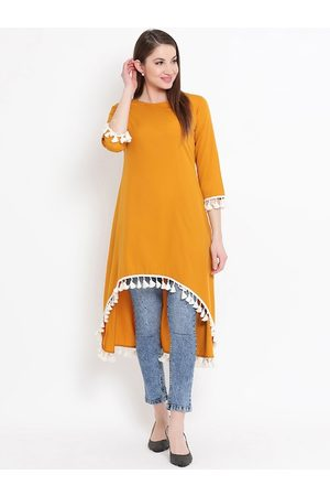 FABNEST Women Mustard Yellow & White Solid Tunic
