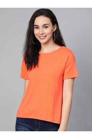 Mast & Harbour Women Neon Orange Solid Round Neck T-shirt