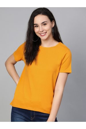 Mast & Harbour Women Mustard Yellow Solid Round Neck T-shirt