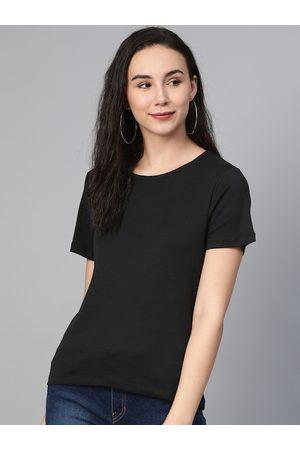 Mast & Harbour Women Black Solid Round Neck T-shirt