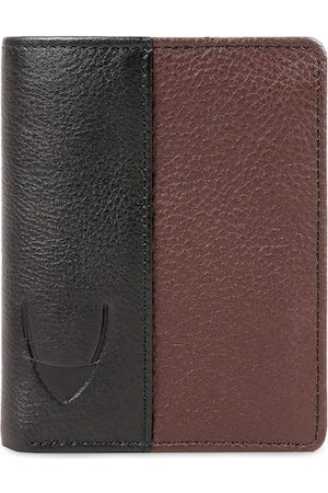 Hidesign Men Black & Brown Colourblocked Leather Two Fold Wallet