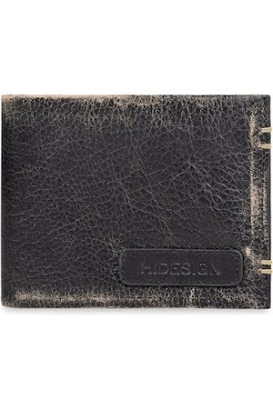 Hidesign Men Black & Brown Solid Leather Two Fold Wallet