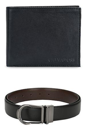 Calvadoss Men Black & Silver-Toned Premium Belt & Wallet Accessory Gift Set