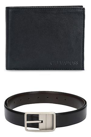 Calvadoss Men Black Solid Premium Belt and Wallet Accessory Gift Set