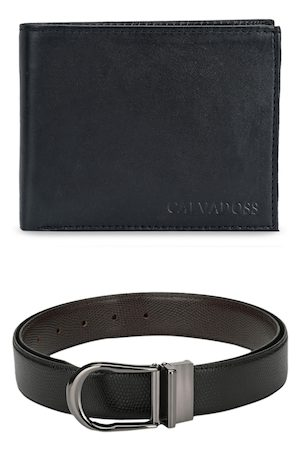 Calvadoss Men Black Premium Belt & Wallet Gift Set