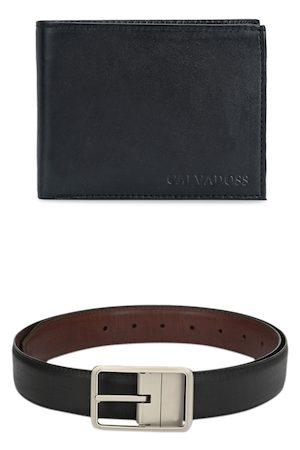 Calvadoss Men Black & Brown Premium Belt and Wallet Accessory Gift Set