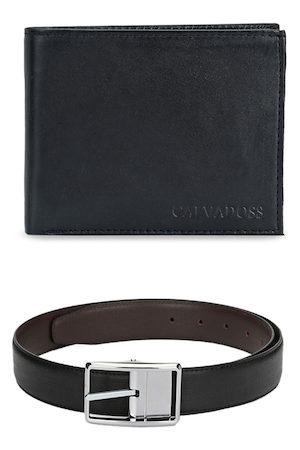 Calvadoss Men Black Solid Premium Accessory Gift Set