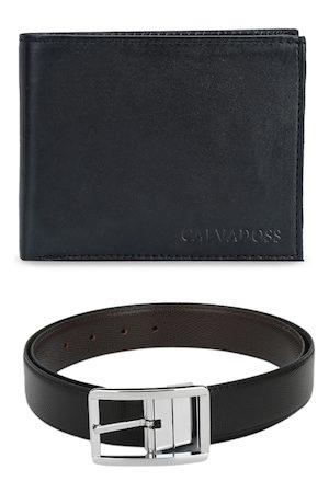 Calvadoss Men Black Premium Belt and Wallet Accessory Gift Set