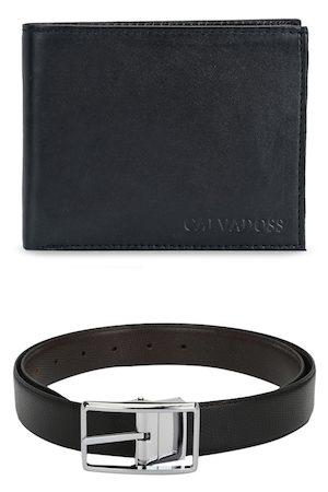 Calvadoss Men Black Premium Belt and Wallet Set