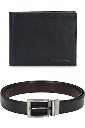 Calvadoss Men Black Solid Premium Belt and Wallet Set