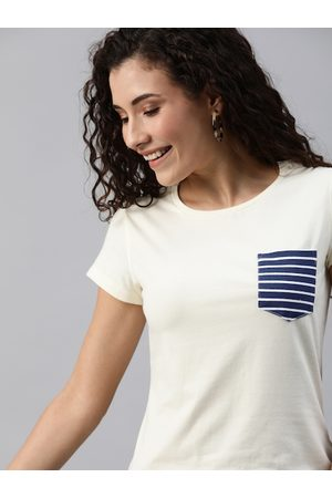 Mast & Harbour Women White Solid Round Neck T-shirt With Chest Pocket