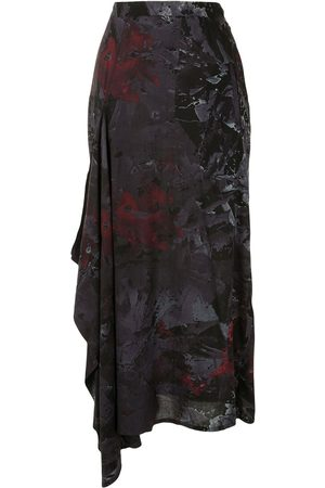 YOHJI YAMAMOTO Abstract print draped side skirt