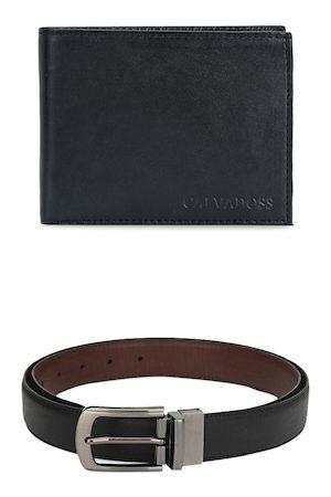 Calvadoss Men Black & Brown Premium Belt & Wallet Gift Set