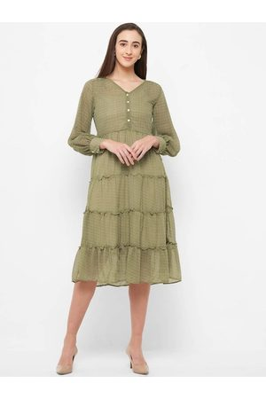 109F Women Olive Green & Grey Printed Fit and Flare Dress