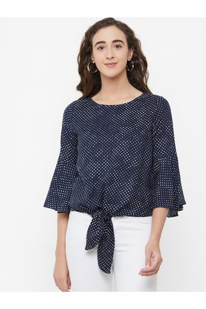 109F Women Navy Blue & White Printed Top