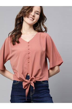 Mast & Harbour Women Dusty Pink Solid Boxy Top