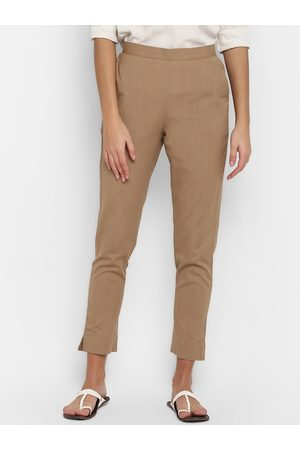Janasya Women Trousers - Women Beige Regular Fit Solid Cropped Trousers