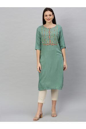 ALENA Women Green Embroidered Straight Kurta