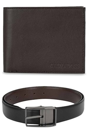 Calvadoss Men Brown & Black Premium Belt & Wallet Accessory Gift Set