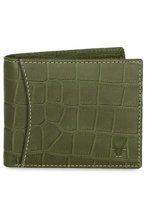 WildHorn Men Green Textured RFID Protected Genuine Leather Two Fold Wallet