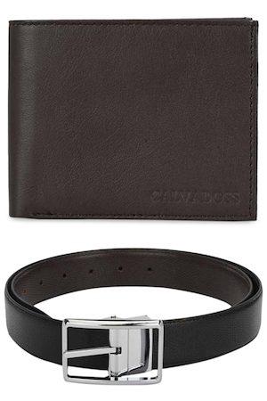 Calvadoss Men Black Leather Premium Accessory Gift Set