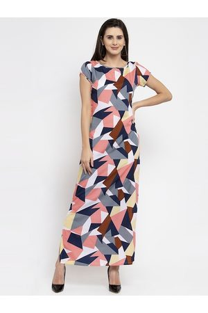 Karmic Vision Women Pink & Navy Blue Printed Maxi Dress