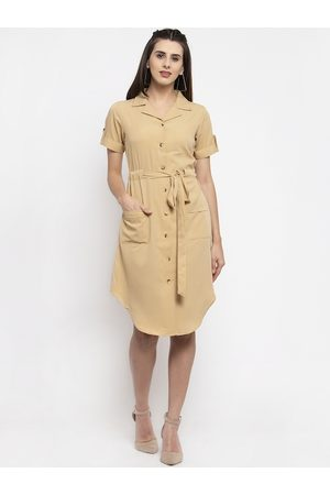 Karmic Vision Women Beige Solid Shirt Dress