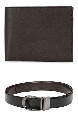 Calvadoss Men Brown & Black Leather Accessory Gift Set
