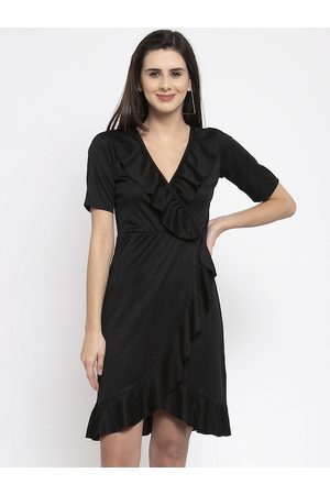 Karmic Vision Women Black Solid Wrap Dress